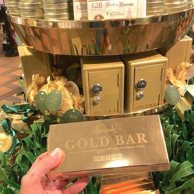 London with kids -harrods gold bar pic