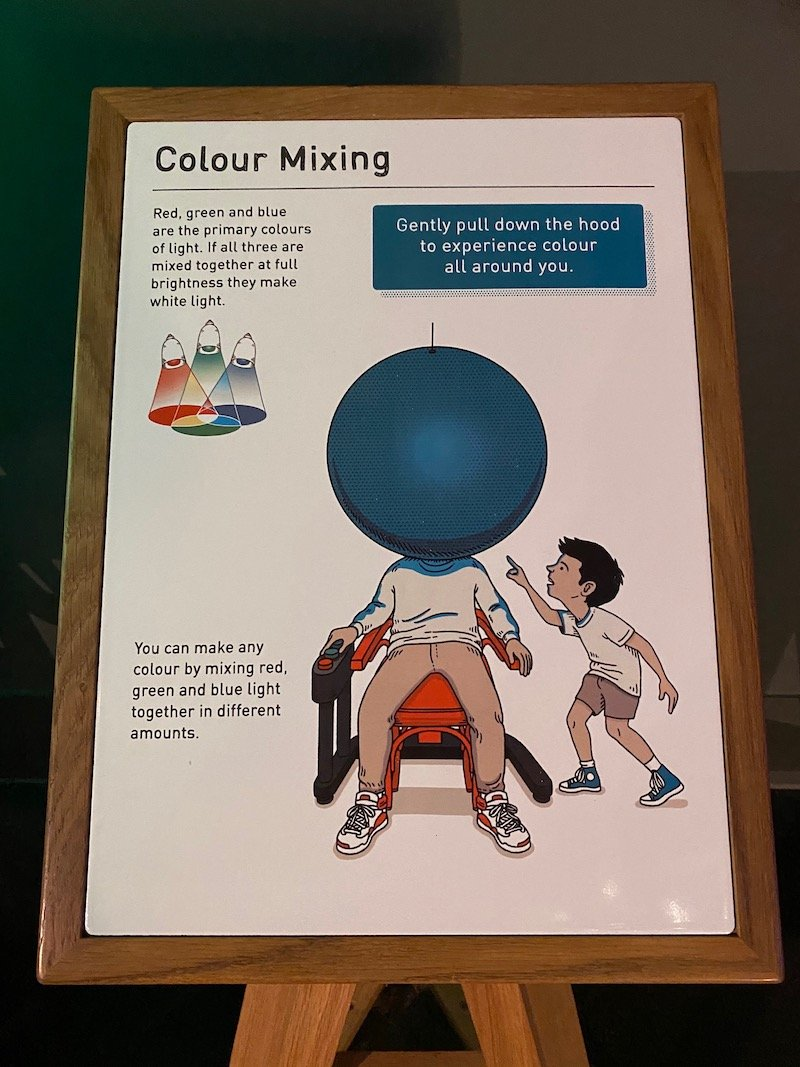 image - wonderland science museum colour mixing sign