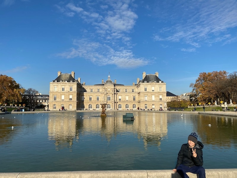 ned at the jardin luxembourg pond pic