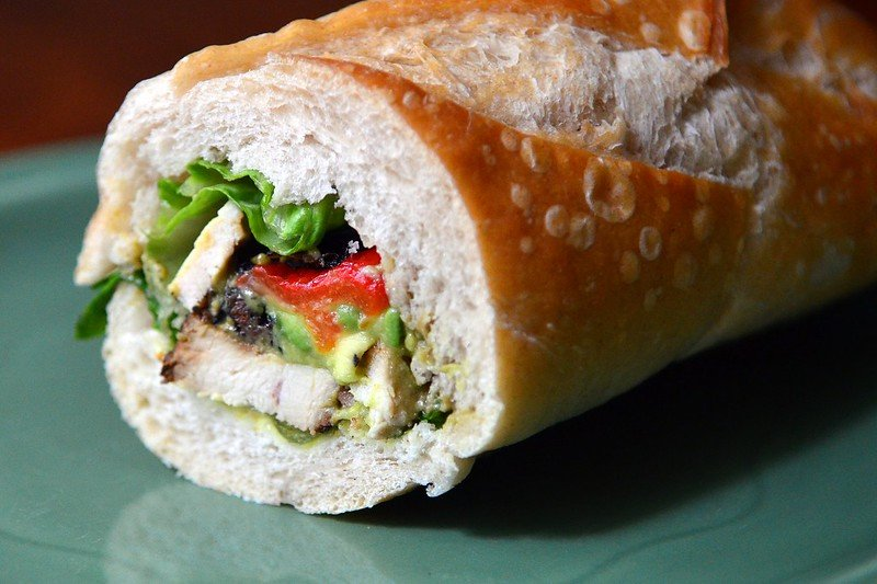 healthy road trip food baguette sandwich by robmadeo flickr