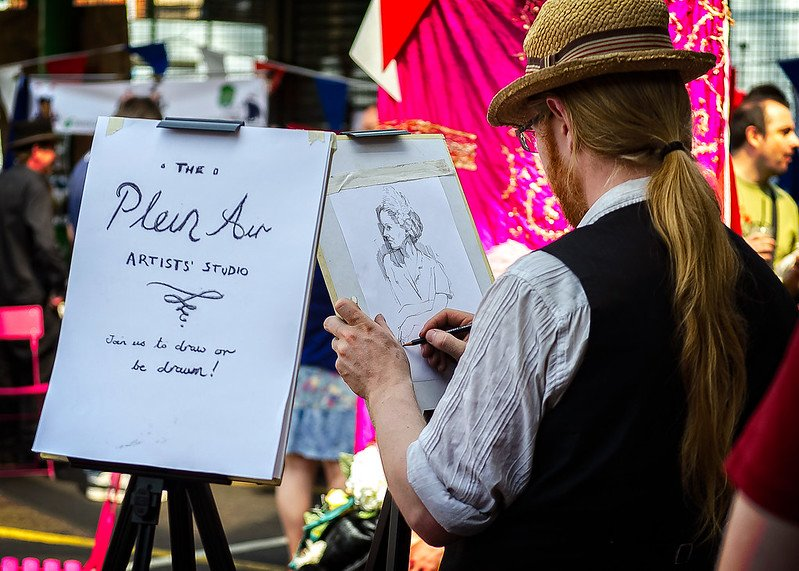 image - london markets sketching stall by garry knight