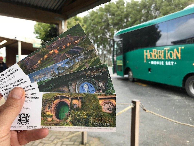 hobbiton movie set tours in new zealand bus pic