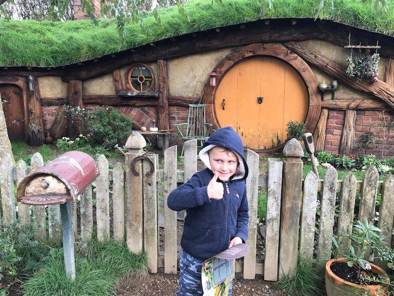 hobbiton movie set tours in new zealand - hobbiton orange door with jack pic