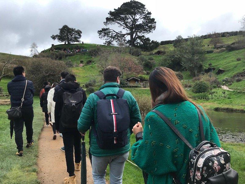 hobbiton movie set tours in new zealand - tour queue pic