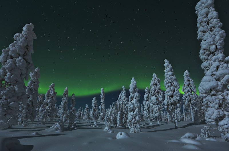northern lights at santa claus holiday village