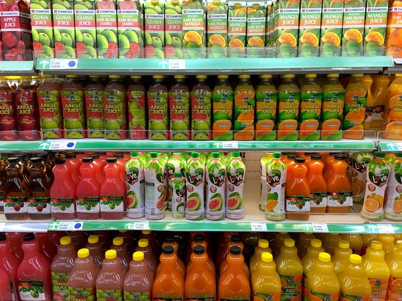 Carrefour Bali Supermarket drinks shelf pic