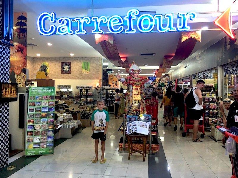 Carrefour Bali Supermarket entrance sign pic