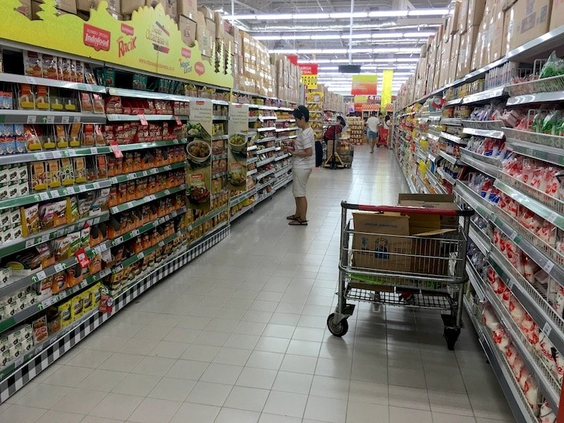 Carrefour Bali Supermarket store with trolley pic