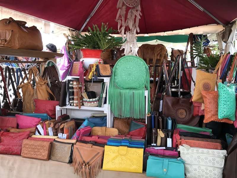 bali shopping green leather bag at seminyak market pic