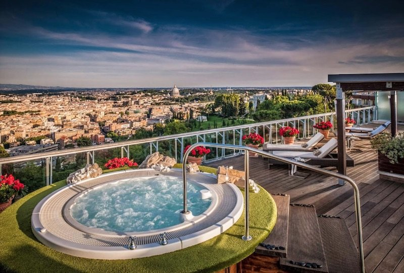 best place to stay in rome with kids - rome cavalieri spa pool pic