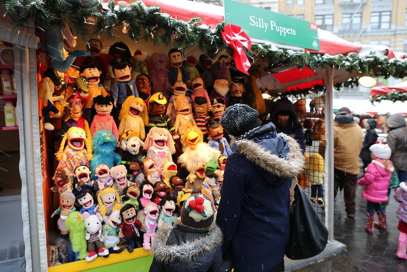 funny puppets at union square christmas market new york by mack male