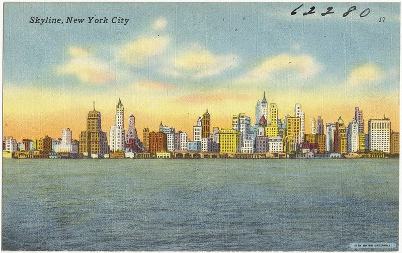 new york skyline postcard pic by boston library