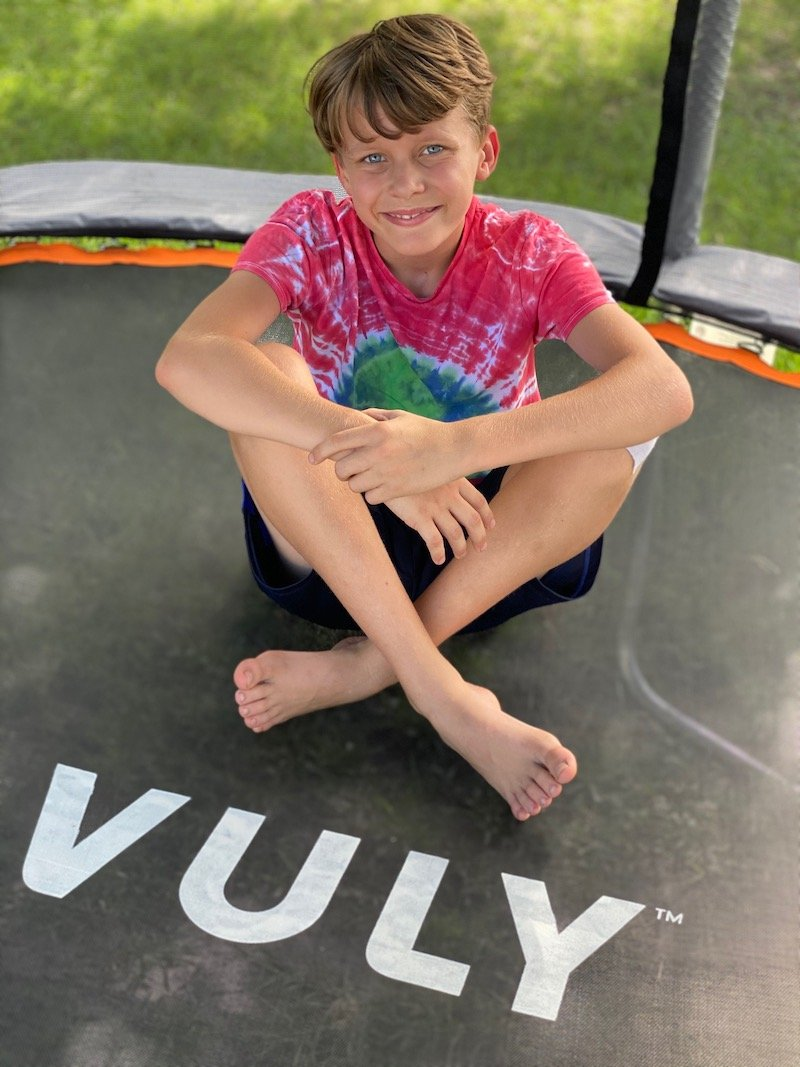 VULY trampoline review - Ned on trampoline pic