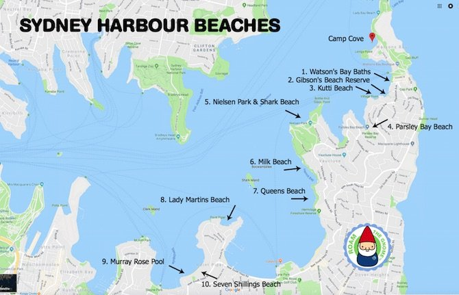 Sydney-Harbour-Beaches-Map-with-Roam-the-Gnome