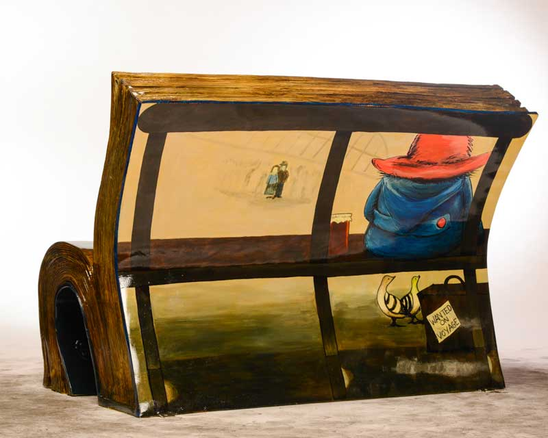 paddington bear book bench from the back pic