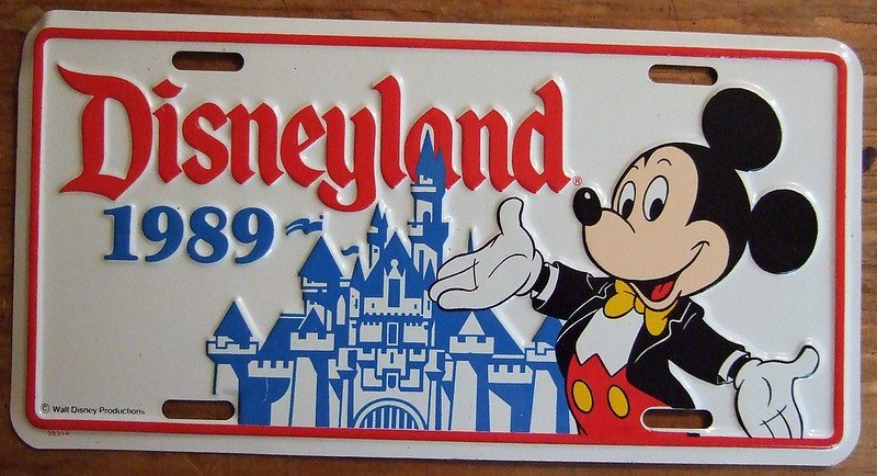disneyland souvenir license plate 1989 by jerry woody