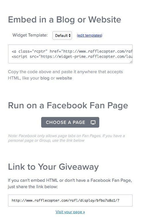 how to share rafflecopter giveaways