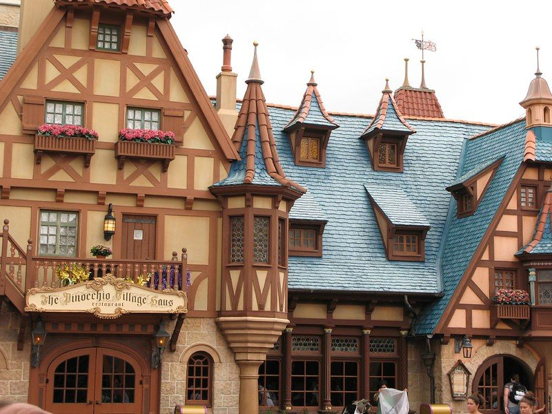 magic kingdom blue roof houses by janey henning