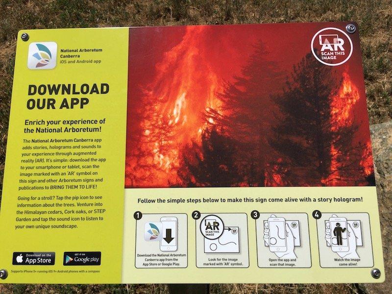 arboretum canberra app sign pic