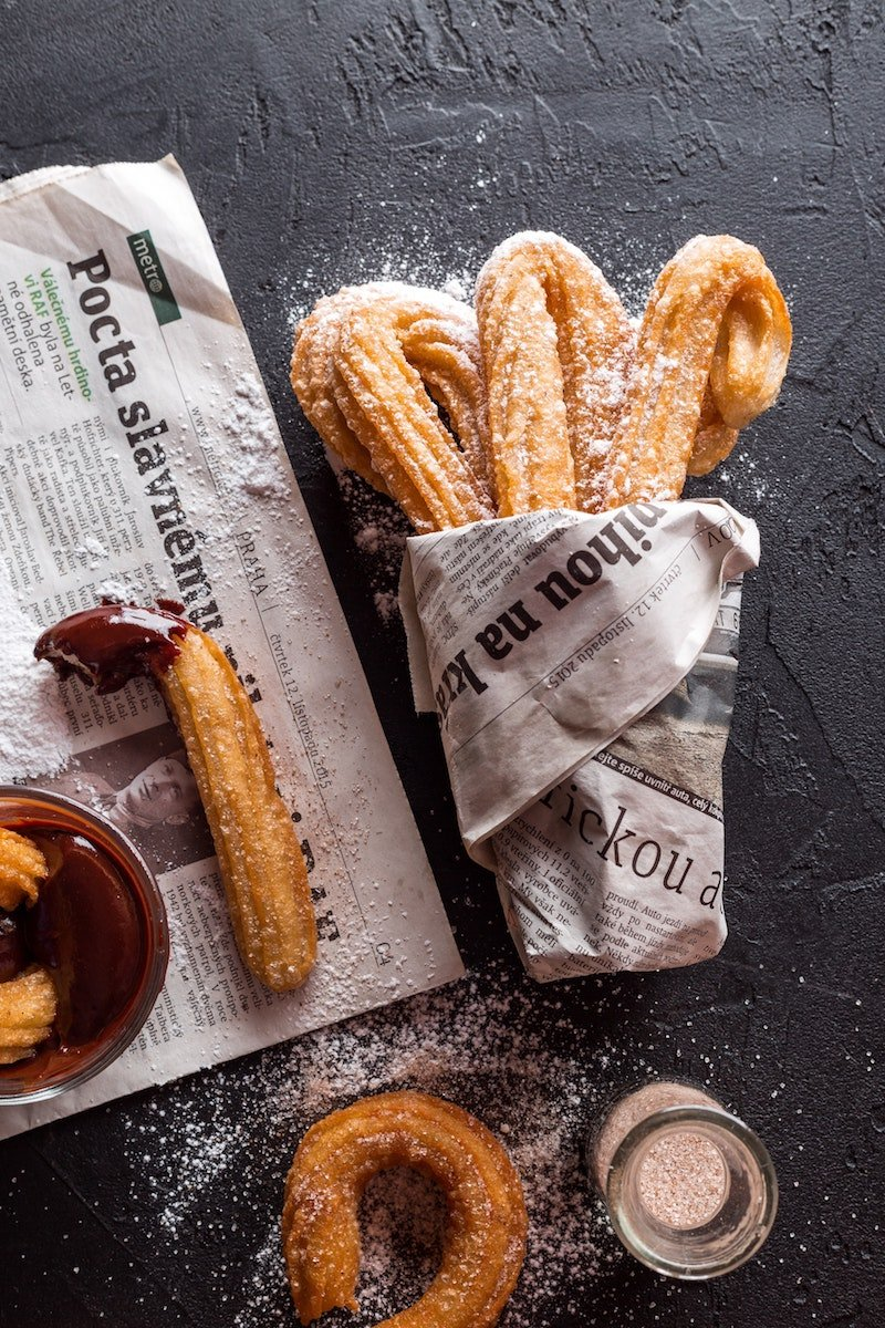 chocolate fondue dippers - churros by pixabay