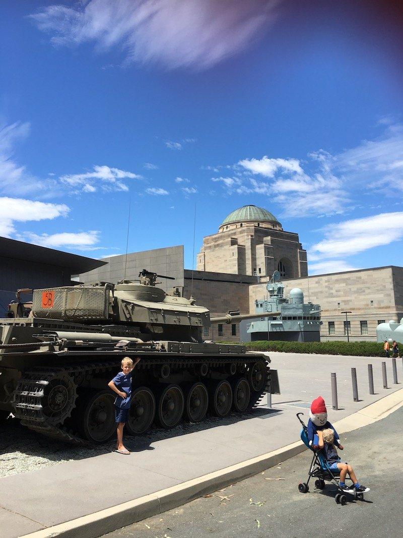 discovery zone canberra war memorial australia - tanks in garden pic
