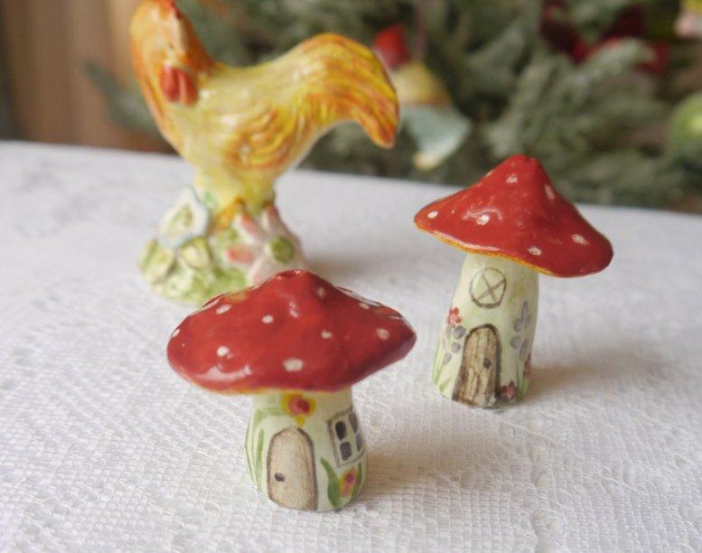 handmade porcelain toadstool figurines by cynthia crane