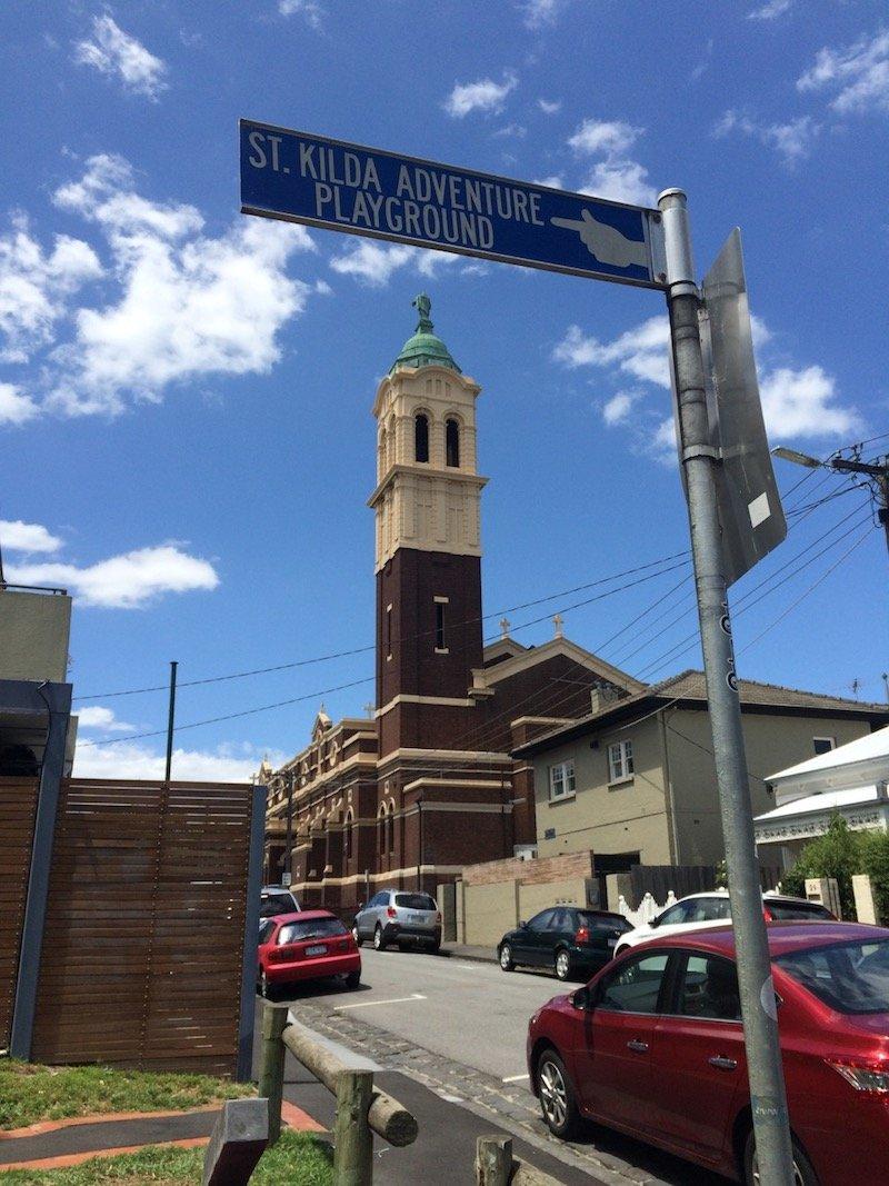 st kilda adventure playground melbourne street sign pic
