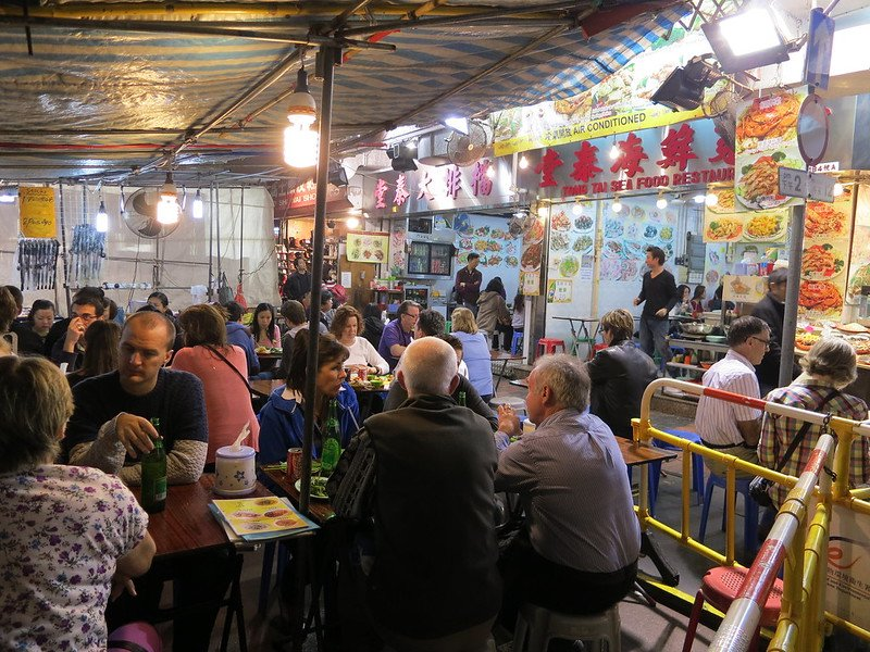 temple street night market food stalls by oleg