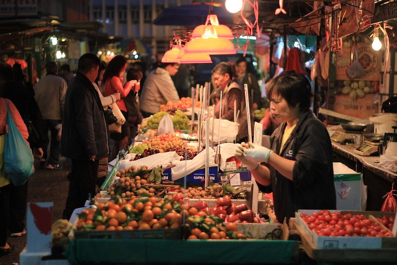 temple street night market fruit stalls by oleg