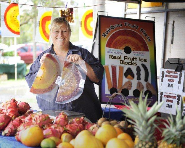 rainbow fruit flats at mullumbimby farmers market pic