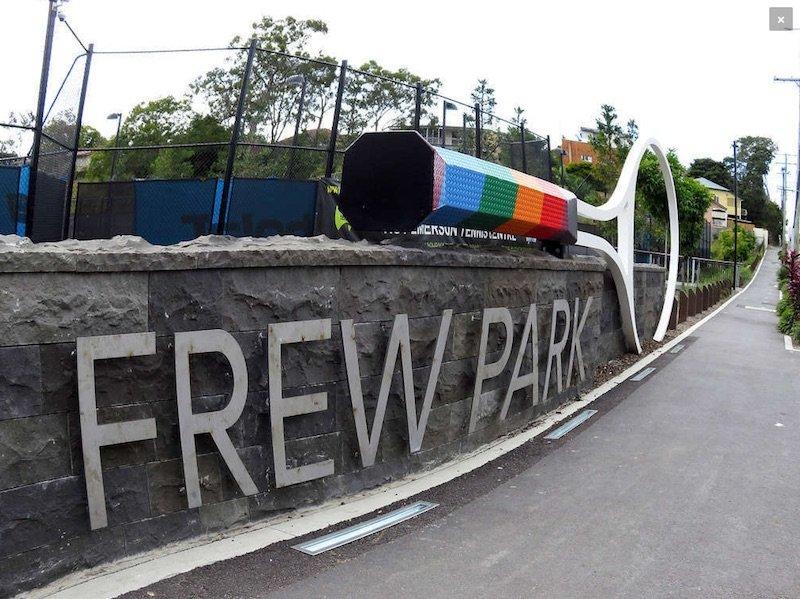 Photo Frew Park Milton playground by Playworks sign
