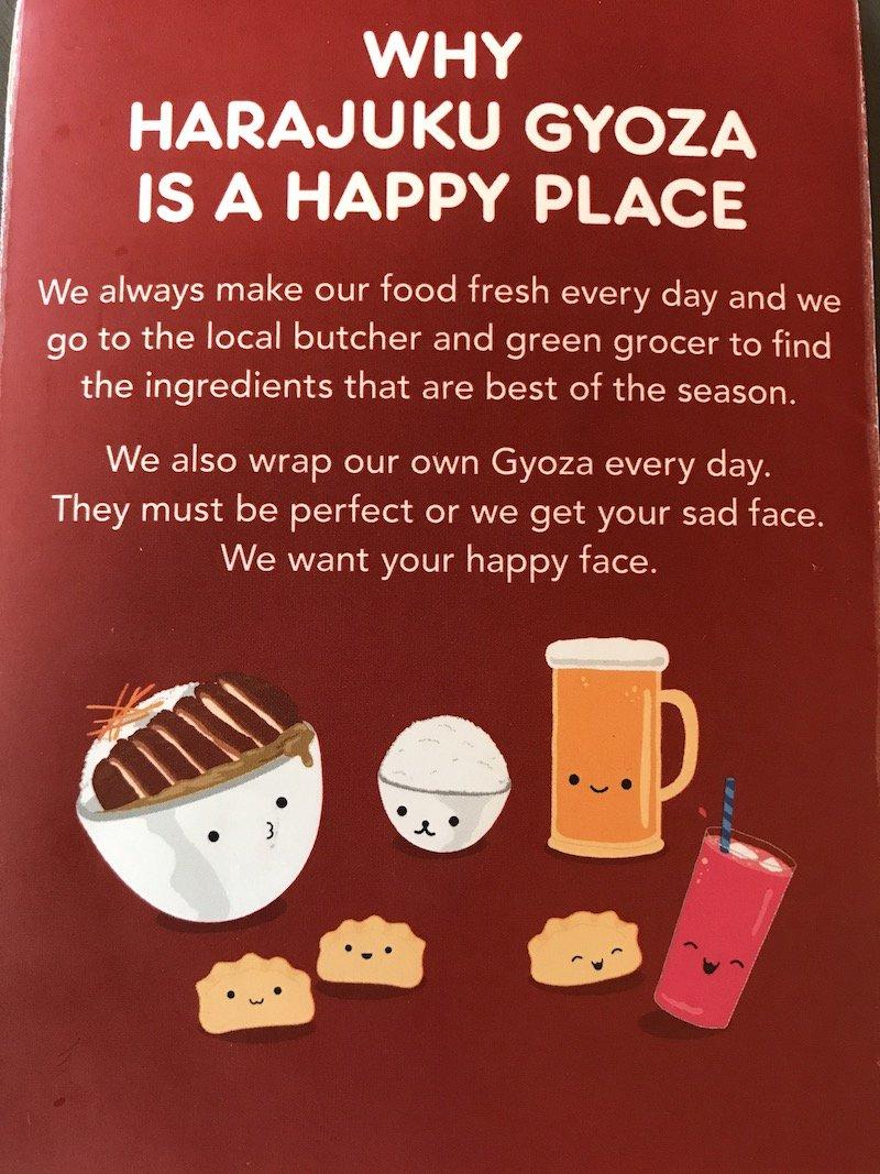 harajuku gyoza gold coast cute menu image pic