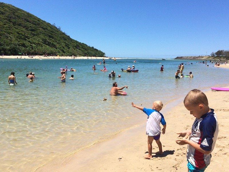 photo - tallebudgera beach gold coast with kids