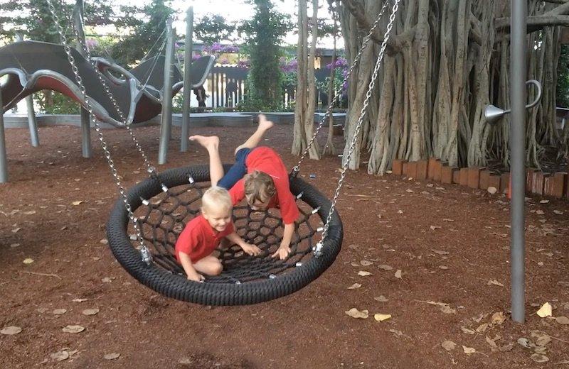 picnic island green web swing southbank playground pic