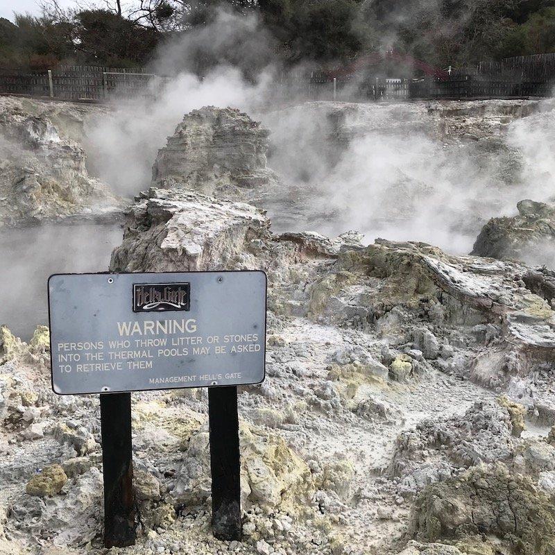 Hells Gate thermal park Rotorua sign pic