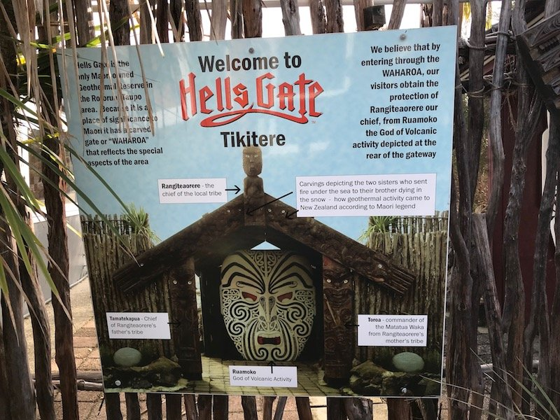 Photo- hells gate thermal park information board