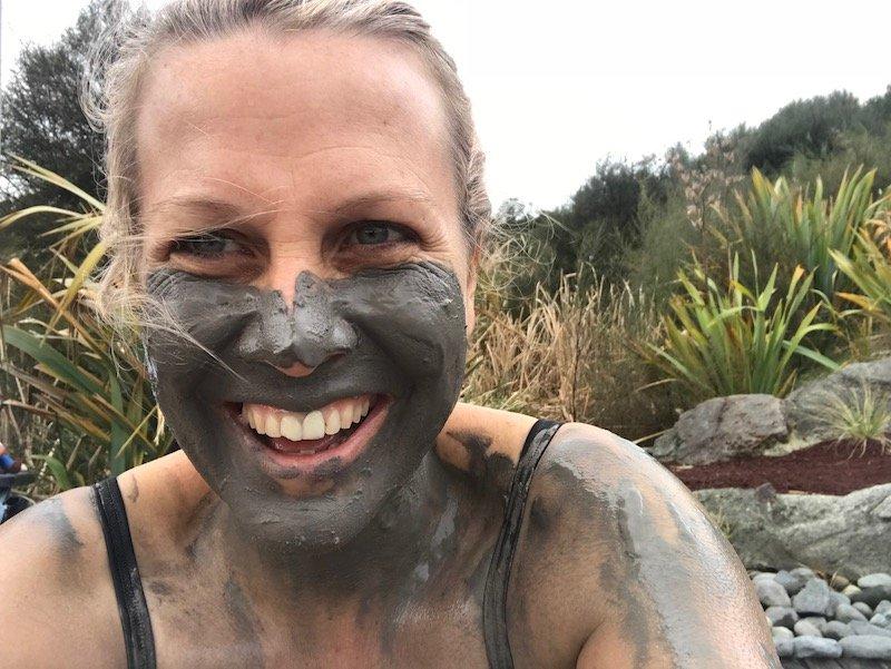 Photo- laughing at the mud baths rotorua