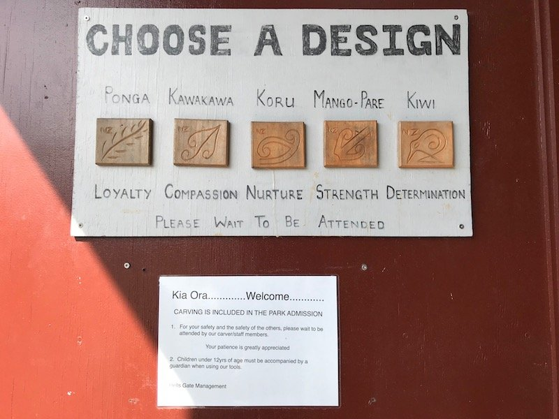 Photo- maori carving design choices at hells gate thermal park