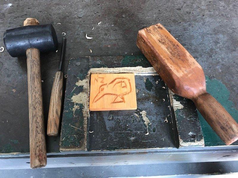 Photo- maori carving tools at hells gate geo thermal park