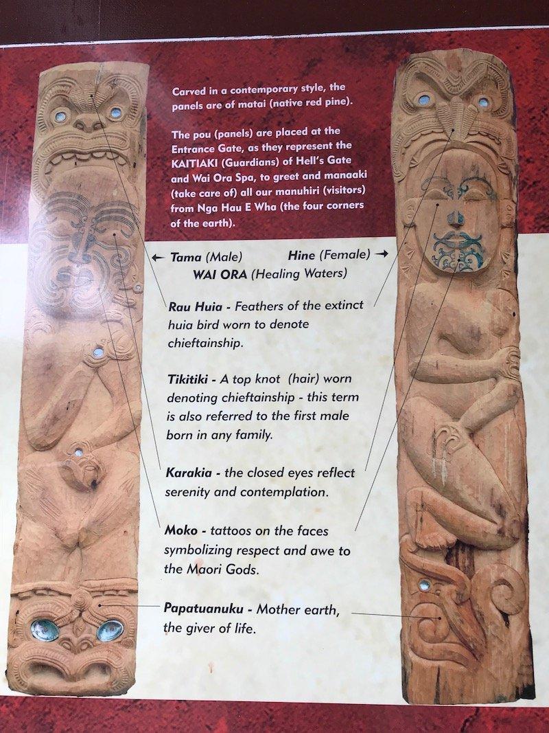 Photo- maori carving totem at hells gate thermal park