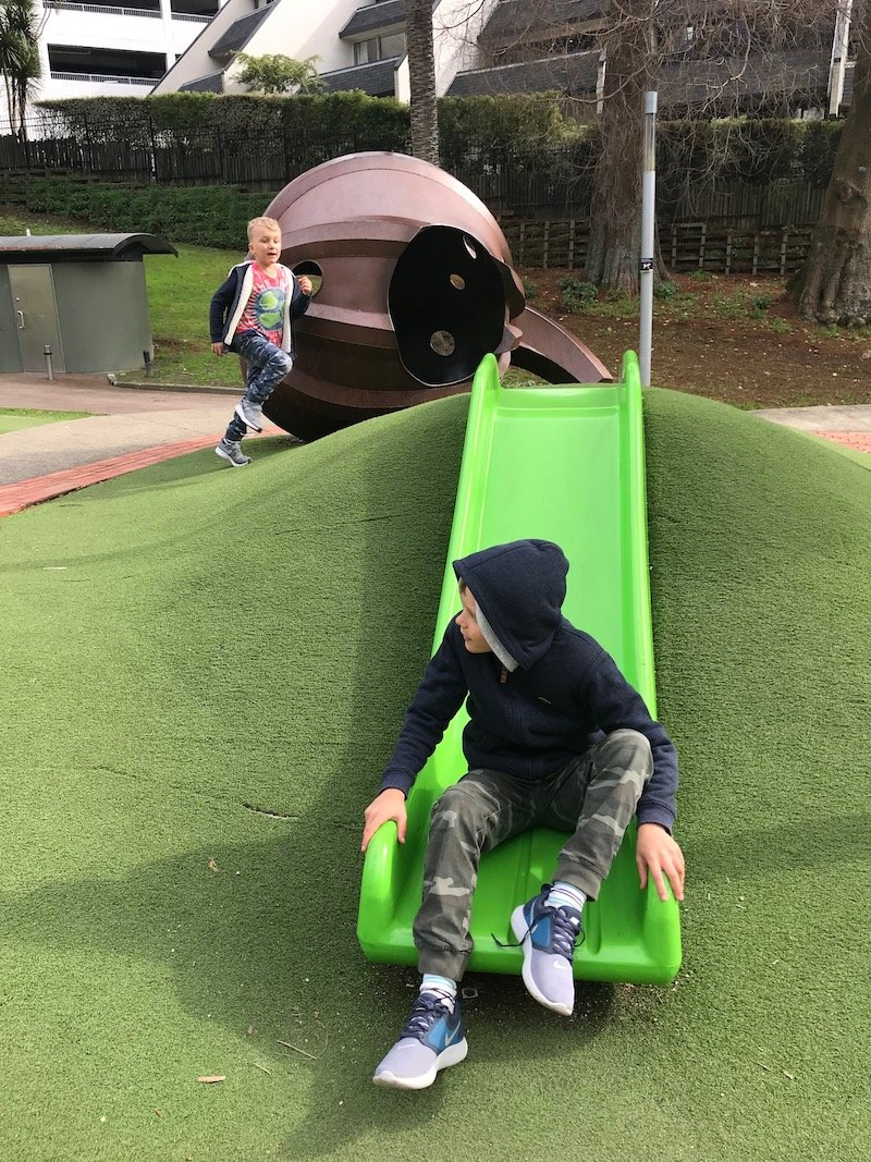 Photo - myers park playground pumpkin slide