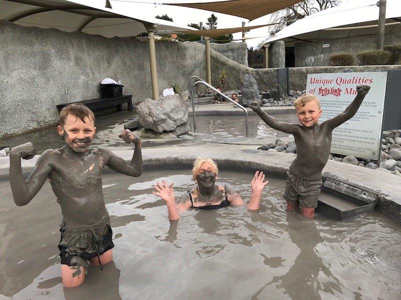 Photo- posing at hells gate mud spa rotorua