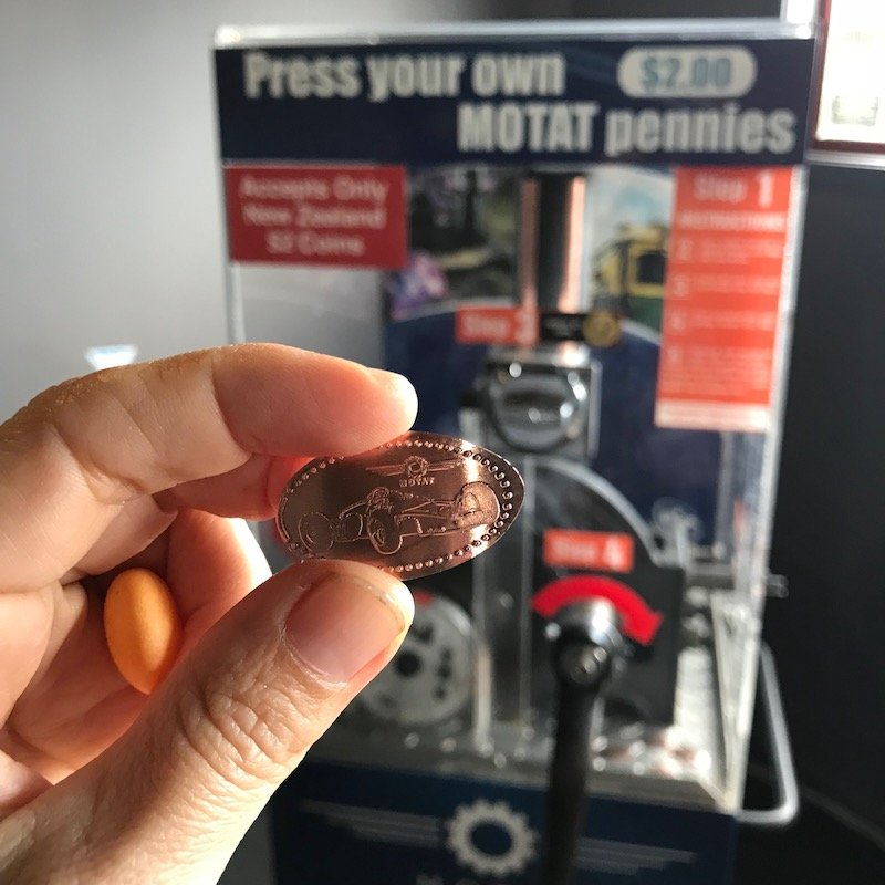 Photo - pressed penny machine at motat aviation hall