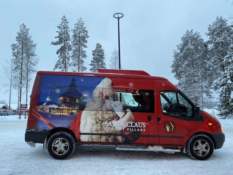 image - santa claus holiday village transport by car