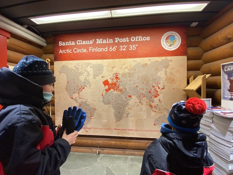 image- santa post office map of visitor home cities