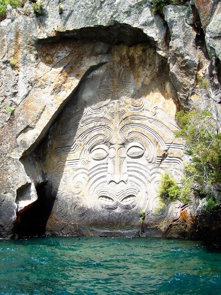 mine bay maori rock carvings by larry koester