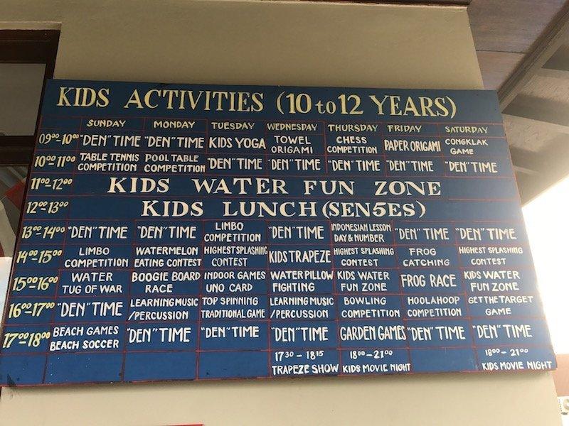 image - bali dynasty resort kids activities schedule