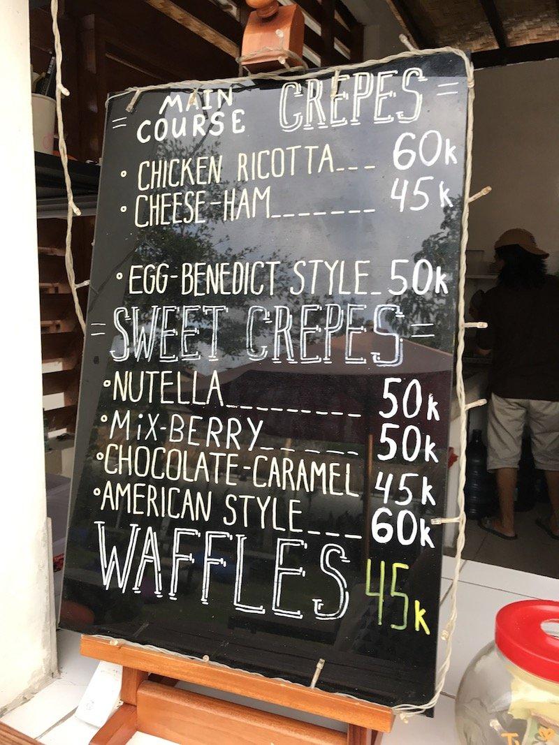 image - berawa kitchen canggu waffles menu