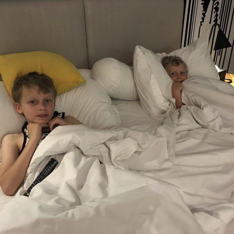 image - kids in bed at ibis styles seminyak
