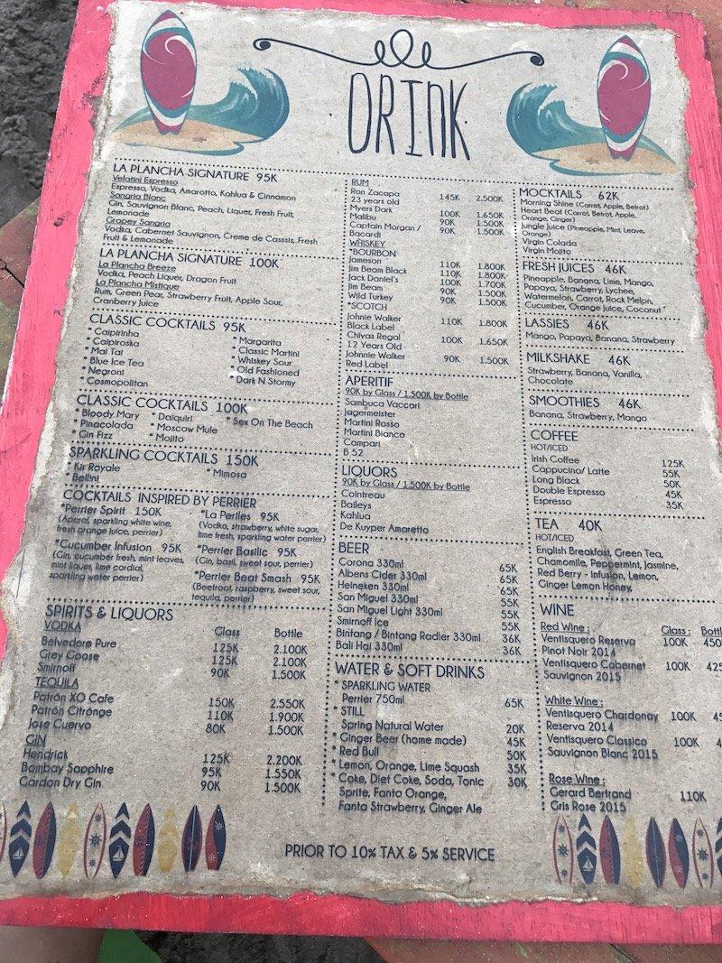 image - la plancha bali restaurant menu board drinks